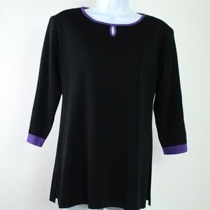 Misook black 3/4 sleeve purple trim keyhole top